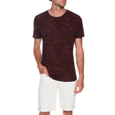 Fashion 4 Men - Tarocash Fern Print Tee Burgundy Xxl