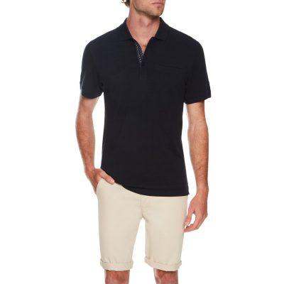 Fashion 4 Men - Tarocash Jacquard Stripe Polo Navy Xl