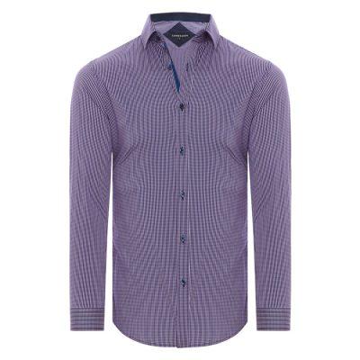 Fashion 4 Men - Tarocash Kensington Check Stretch Shirt Berry Xs