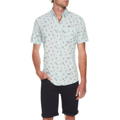 Fashion 4 Men - Tarocash Kokomo Palm Print Shirt Aqua L