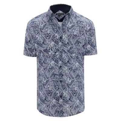 Fashion 4 Men - Tarocash Maze Print Shirt Navy 5 Xl