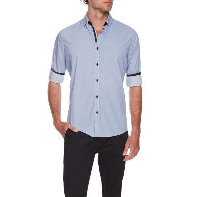Fashion 4 Men - Tarocash Pepper Geo Print Shirt Blue L