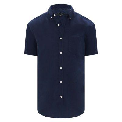 Fashion 4 Men - Tarocash Peterson Linen Blend Shirt Navy M