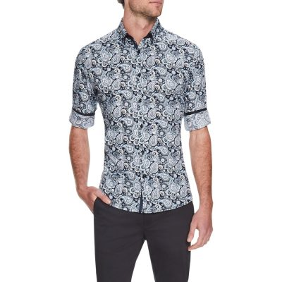 Fashion 4 Men - Tarocash Ringo Paisley Slim Print Shirt Blue Xl