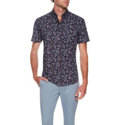 Fashion 4 Men - Tarocash Sheridan Print Shirt Navy M