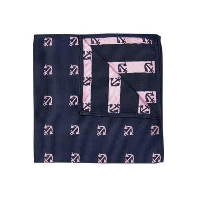 Fashion 4 Men - yd. Ahoy Anchor Pocket Square Dark Blue One