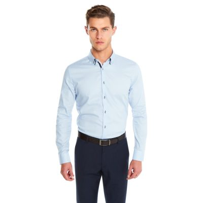 Fashion 4 Men - yd. Alvaro Slim Fit Dress Shirt Sky Blue Xs