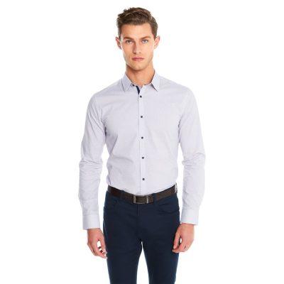 Fashion 4 Men - yd. Apsley Slim Fit Shirt White/Burgundy 2 Xs