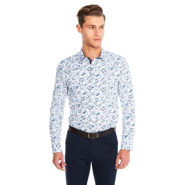 Fashion 4 Men - yd. Blue Fleur Shirt Blue Print L