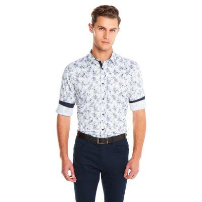 Fashion 4 Men - yd. Floral Slim Fit Shirt White L