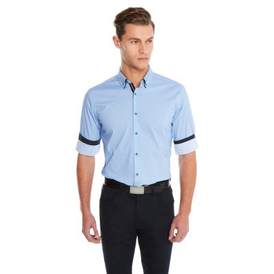 Fashion 4 Men - yd. Geo Diamond Slim Fit Shirt Blue 3 Xs