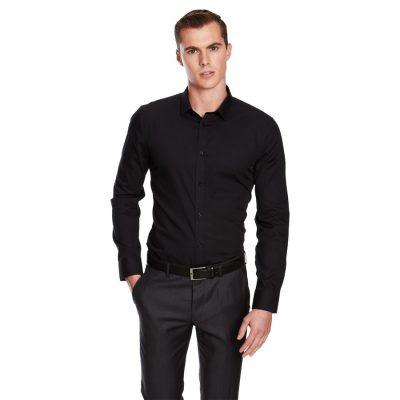 Fashion 4 Men - yd. Plain Stretch Slim Fit Shirt Black 3 Xs