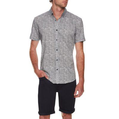 Fashion 4 Men - Tarocash Barker Floral Print Shirt Navy 4 Xl