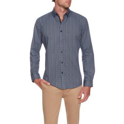 Fashion 4 Men - Tarocash Cookie Geo Print Shirt Navy Xxxl