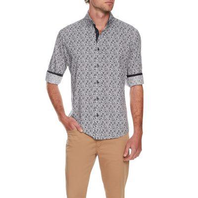 Fashion 4 Men - Tarocash Foliage Print Shirt Navy S