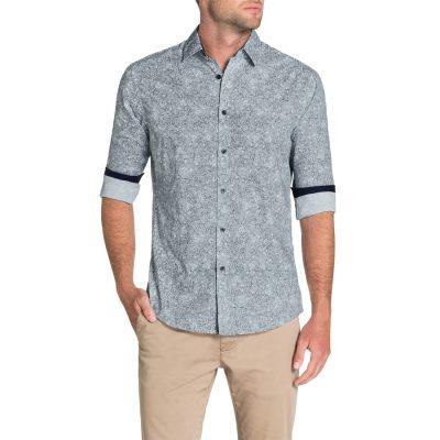 Fashion 4 Men - Tarocash Gordon Paisley Print Shirt Navy 4 Xl