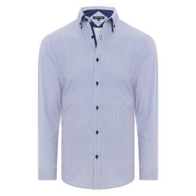 Fashion 4 Men - Tarocash Hawke Print Shirt Navy S