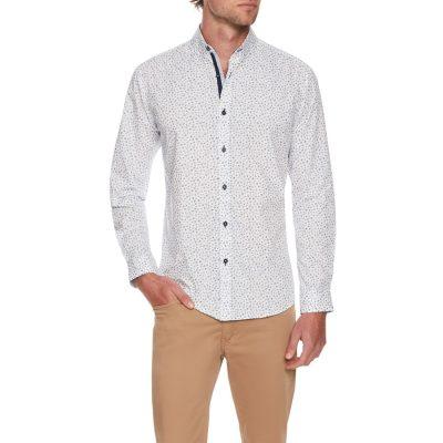 Fashion 4 Men - Tarocash Lagoona Print Shirt White M