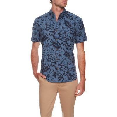 Fashion 4 Men - Tarocash Lantana Print Shirt Blue L