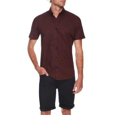 Fashion 4 Men - Tarocash Mini Paisley Print Shirt Burgundy L