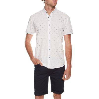 Fashion 4 Men - Tarocash Mini Paisley Print Shirt White Xl