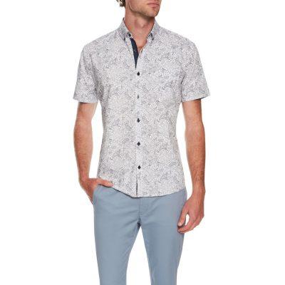 Fashion 4 Men - Tarocash Moss Paisley Print Shirt White 5 Xl