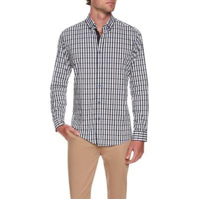 Fashion 4 Men - Tarocash Outlander Stretch Check Shirt Navy Xxl