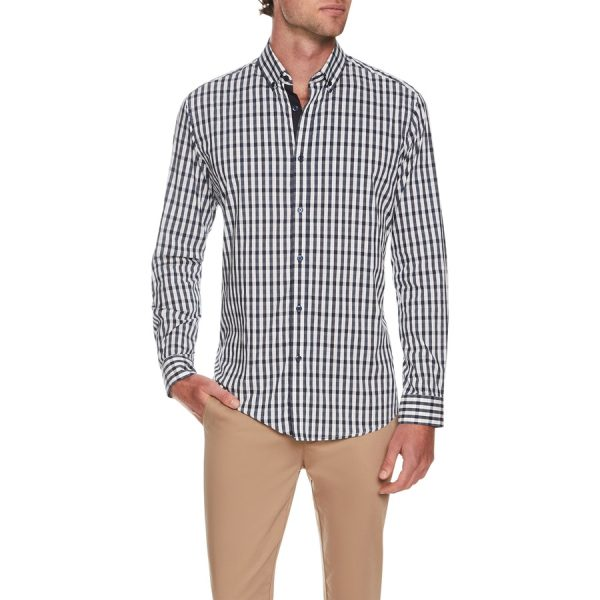 Fashion 4 Men - Tarocash Outlander Stretch Check Shirt Navy Xxxl