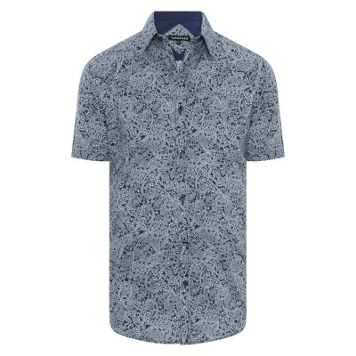 Fashion 4 Men - Tarocash Pilkington Paisley Shirt Navy 5 Xl