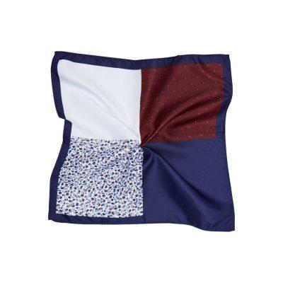 Fashion 4 Men - Tarocash Quadrant Pocket Square Burgundy 1
