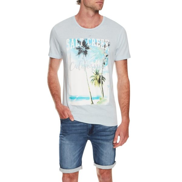 Fashion 4 Men - Tarocash Salt Creek Print Tee Sky Marle L