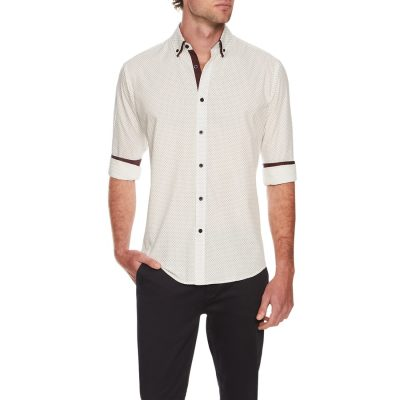 Fashion 4 Men - Tarocash Simple Circle Print Shirt Burgundy 5 Xl