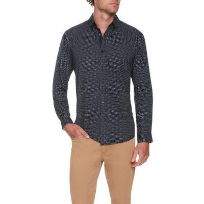 Fashion 4 Men - Tarocash Simple Circle Print Shirt Navy L