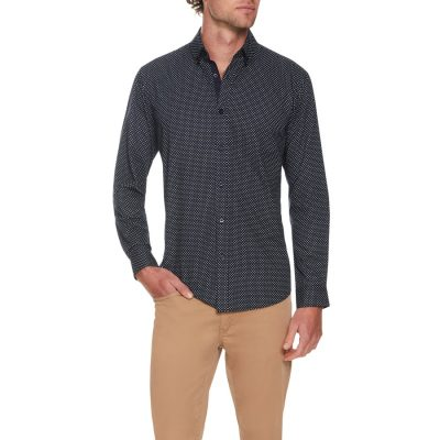 Fashion 4 Men - Tarocash Simple Circle Print Shirt Navy S