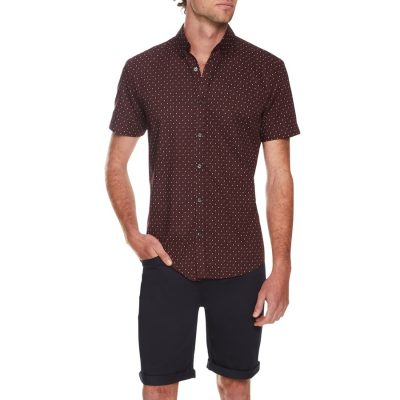 Fashion 4 Men - Tarocash Turnbull Print Shirt Burgundy L