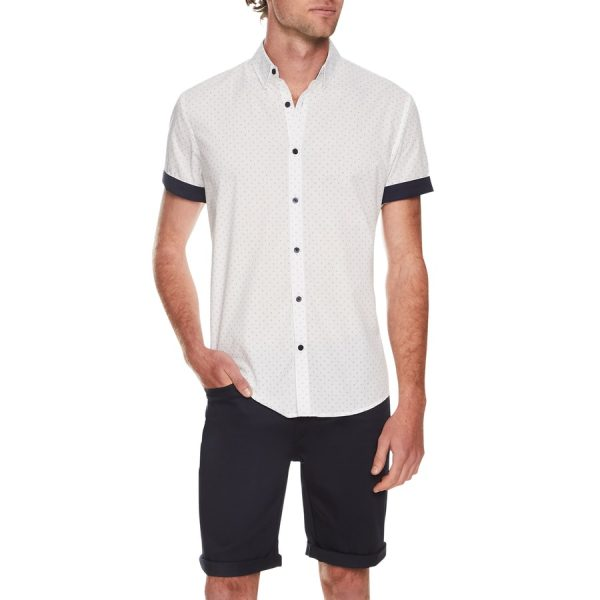 Fashion 4 Men - Tarocash Wes Print Shirt White S