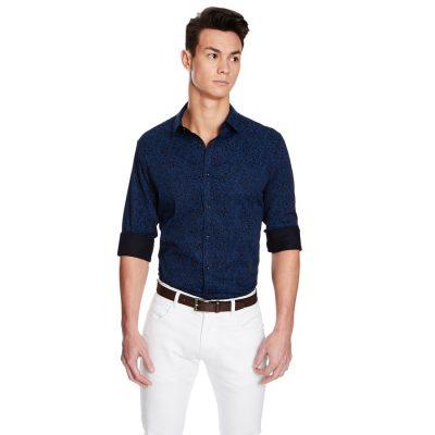 Fashion 4 Men - yd. Elvis Paisley Slim Fit Shirt Midnight Blue Xxxl
