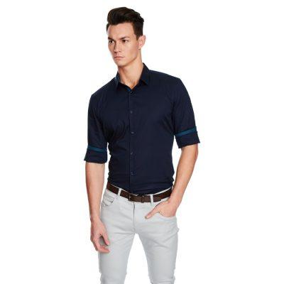 Fashion 4 Men - yd. Fisher Slim Fit Shirt Dark Blue 2 Xs