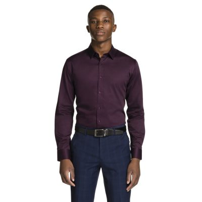 Fashion 4 Men - yd. Mission Slim Fit Dress Shirt Berry M
