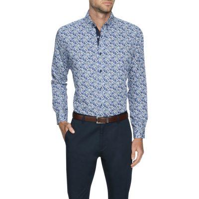 Fashion 4 Men - Tarocash Chicago Slim Stretch Shirt Blue Xxxl