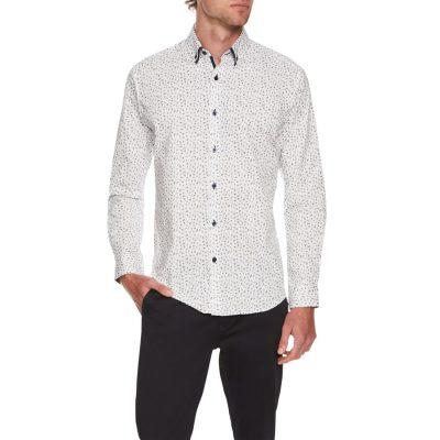 Fashion 4 Men - Tarocash Draper Stretch Floral Print Shirt White 5 Xl