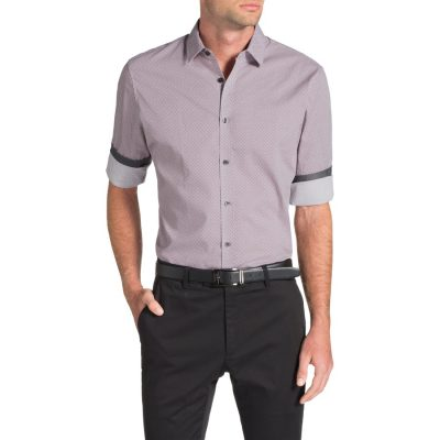 Fashion 4 Men - Tarocash Geelong Print Shirt Burgundy Xxl