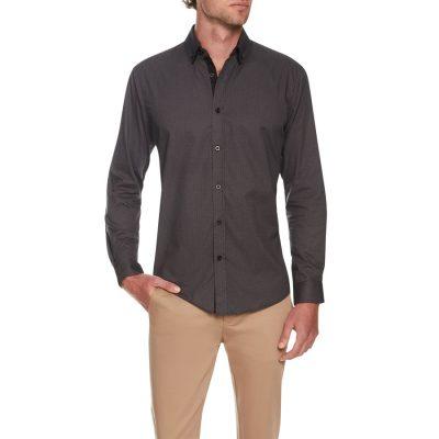 Fashion 4 Men - Tarocash Geometric Print Shirt Charcoal 5 Xl