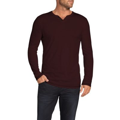 Fashion 4 Men - Tarocash Graceland Henley Long Tee Burgundy M