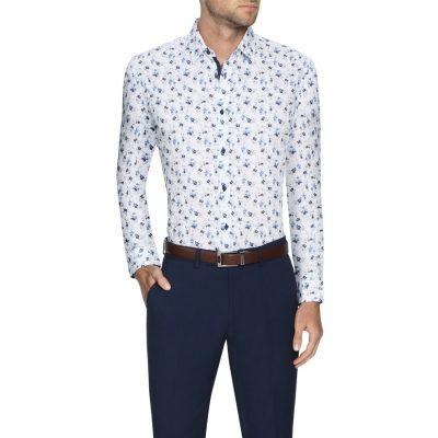 Fashion 4 Men - Tarocash Harlem Stretch Floral Shirt White 5 Xl