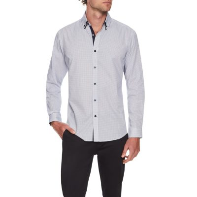 Fashion 4 Men - Tarocash Houndstooth Print Shirt Navy 5 Xl