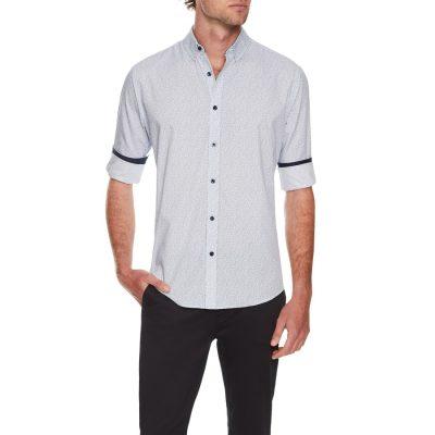 Fashion 4 Men - Tarocash Jacobson Print Shirt Navy Xl