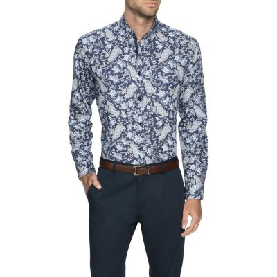 Fashion 4 Men - Tarocash Lawrence Paisley Print Shirt Navy Xl