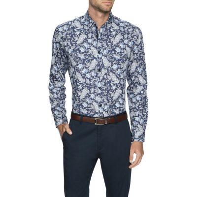 Fashion 4 Men - Tarocash Lawrence Paisley Print Shirt Navy Xxl