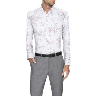 Fashion 4 Men - Tarocash Madison Slim Stretch Floral Shirt White Xxxl